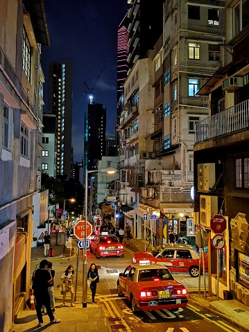 Street In Soho By Night Hong Kong Island Stock Photo - Download Image Now