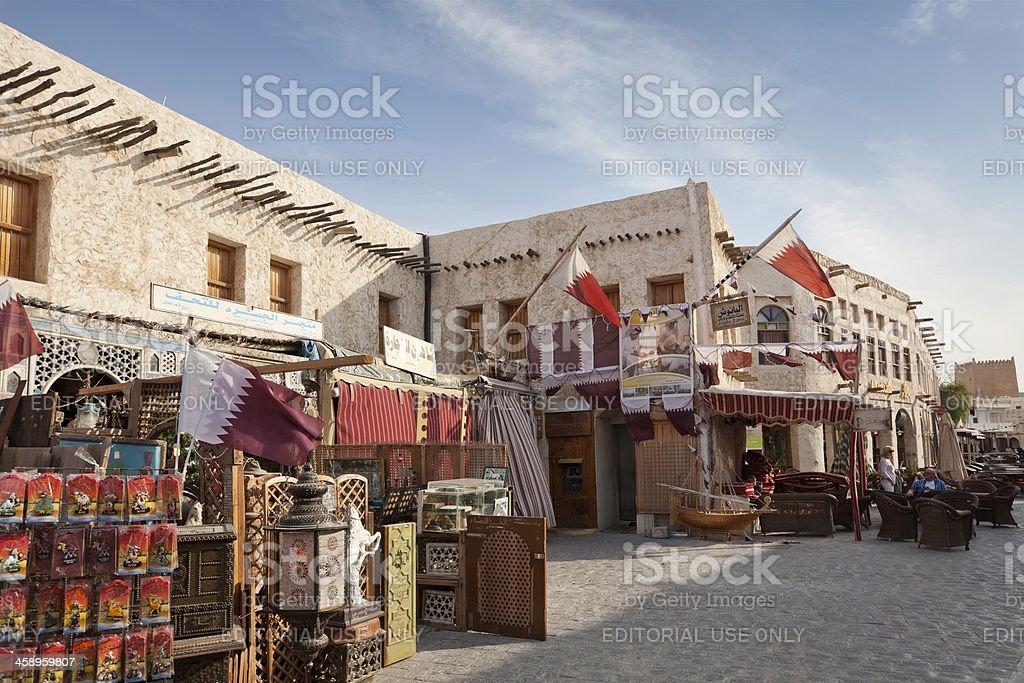 Street in Souq Waqif stock photo