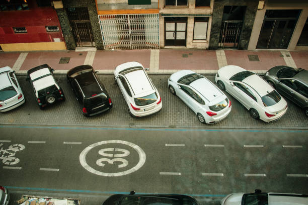 Street in Spain as seen from above Street in Spain as seen from above medium group of objects stock pictures, royalty-free photos & images