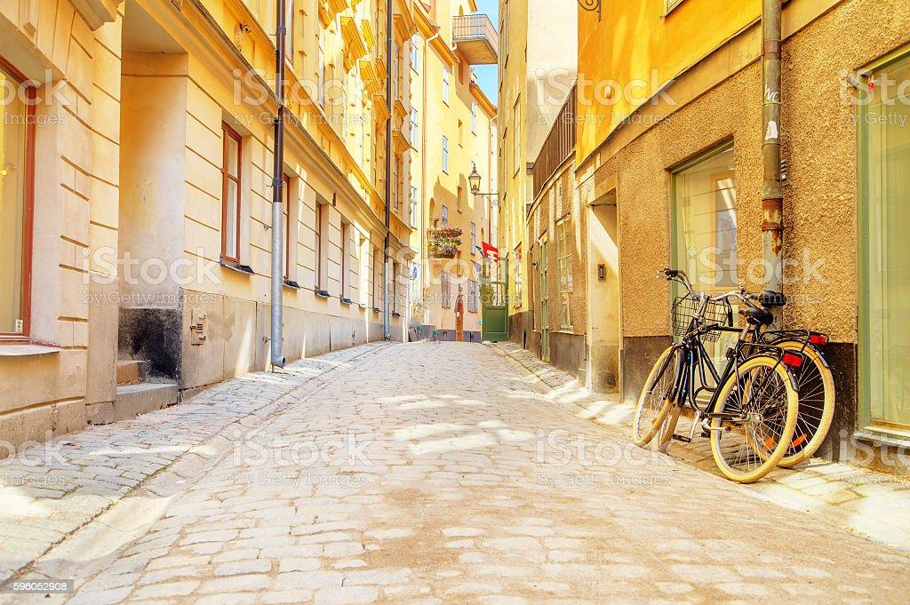 Street in Stockholm, Sweden bildbanksfoto