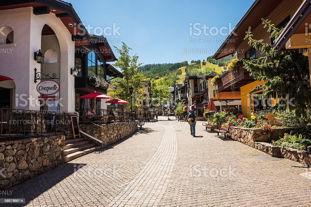 Street in Swiss style at resort town of Colorado stock photo