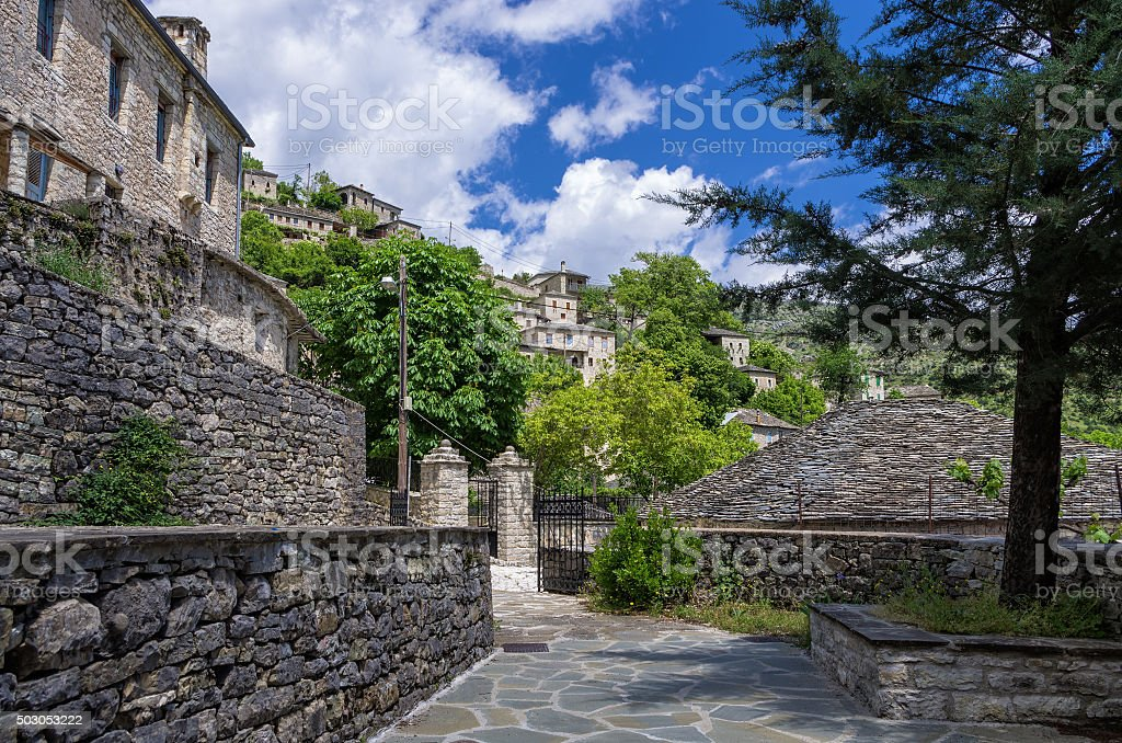 Street in Syrrako village, Epirus, Greece stock photo