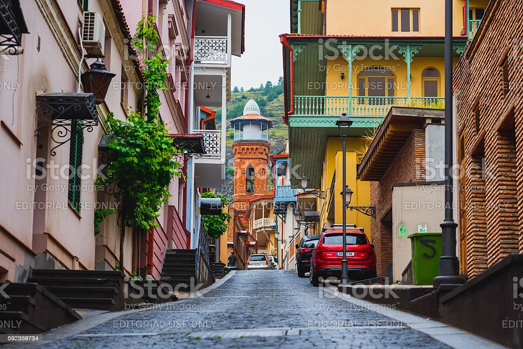 Street in Tbilisi Old Town stock photo