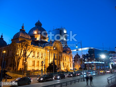 Bucharest, Romania -  February 17, 2020: CEC Palace and other beautiful buildings in the center of Bucharest, Romania.