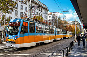 Sofia / Bulgaria - October 18 2013: A street in the city center of sofia and tram. Daily life in Sofia