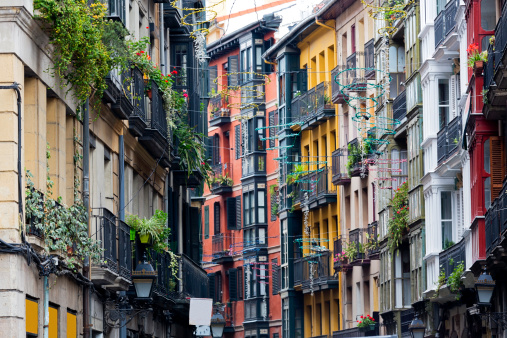 A street in the city of Casco Vieno, Bilbao
