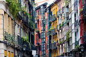 Details of the multi colored facades of the old buildings in Bilbao's Casco Viejo.