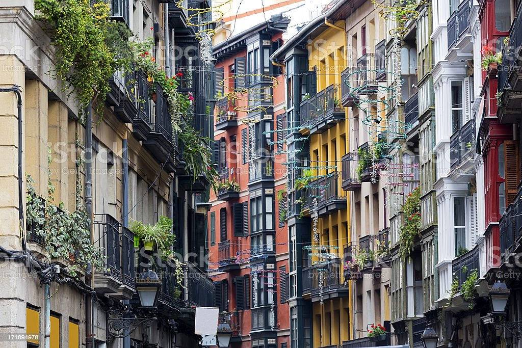 A street in the city of Casco Vieno, Bilbao stock photo