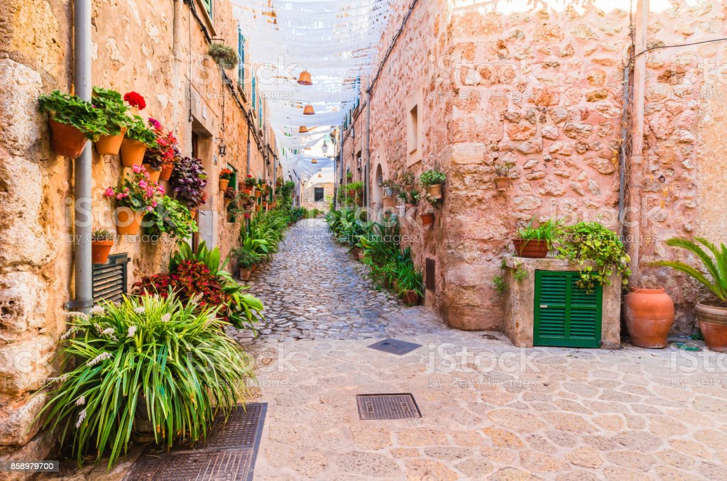 Street in the famous village Valldemossa on Majorca Spain stock photo