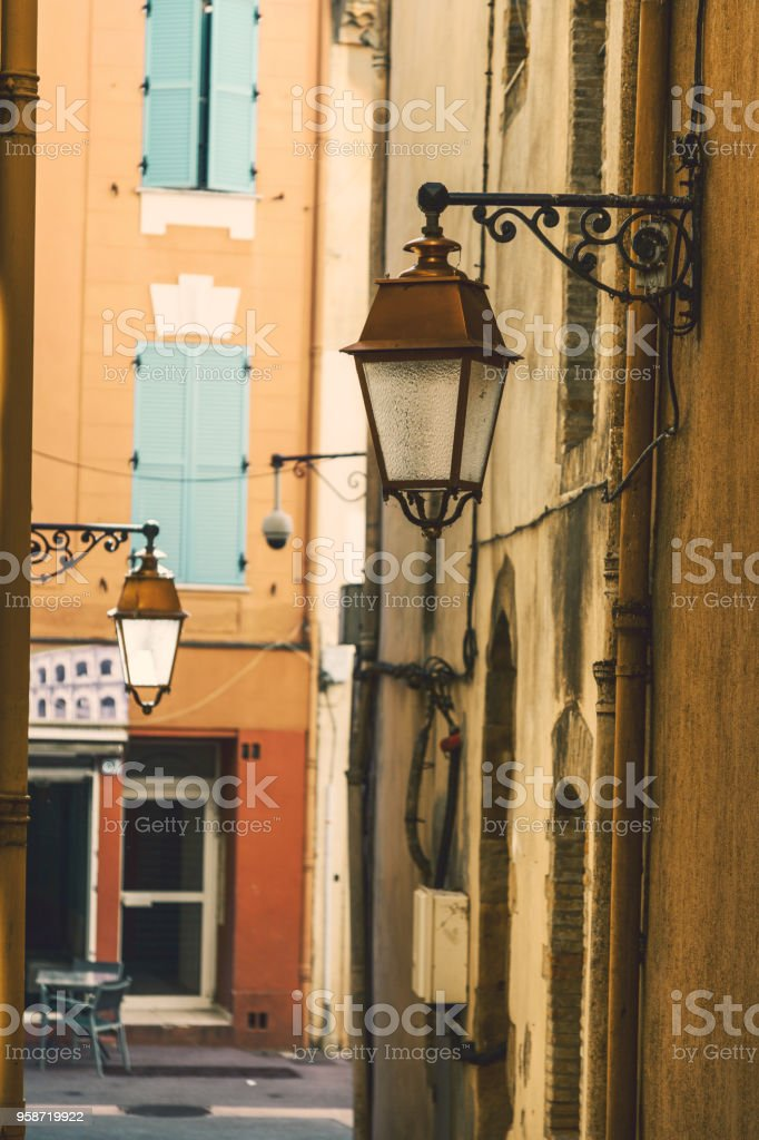 street in the historical center of Frejus Sant Rafael, Provence, Cote d'Azur, a popular destination for travel in Europe stock photo