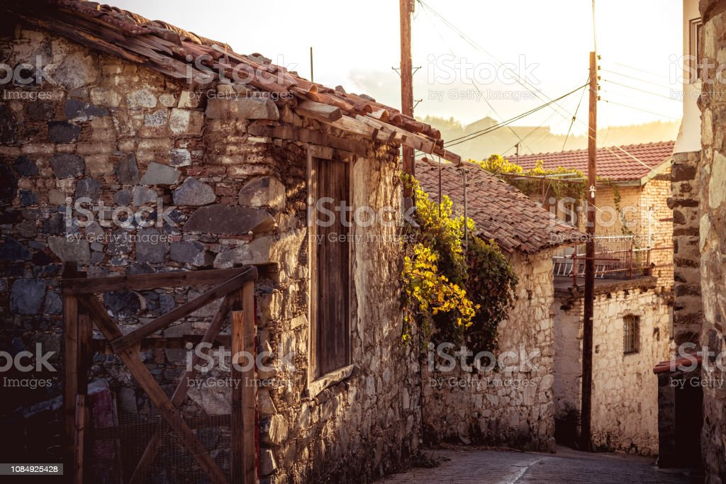 Street in the mountain village of Agros. Limassol District, Cyprus stock photo