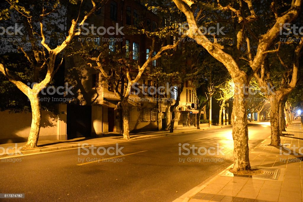 Street in the Old French Concession of Shanghai by night stock photo