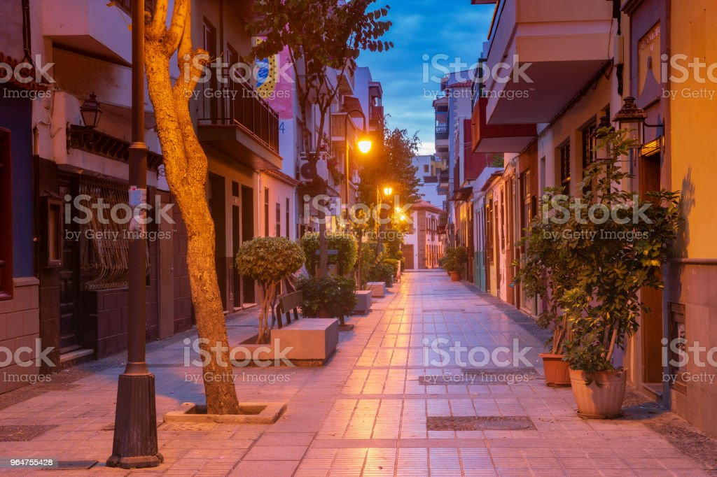 street in the old town at night in Puerto de la Cruz on Tenerife royalty-free stock photo