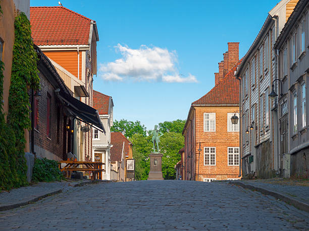 Street in the Old Town of Fredrikstad, Norway – Foto