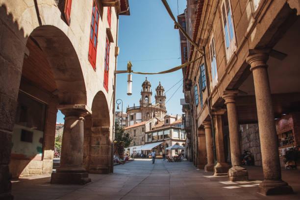 Street in the old town of Pontevedra, Spain stock photo