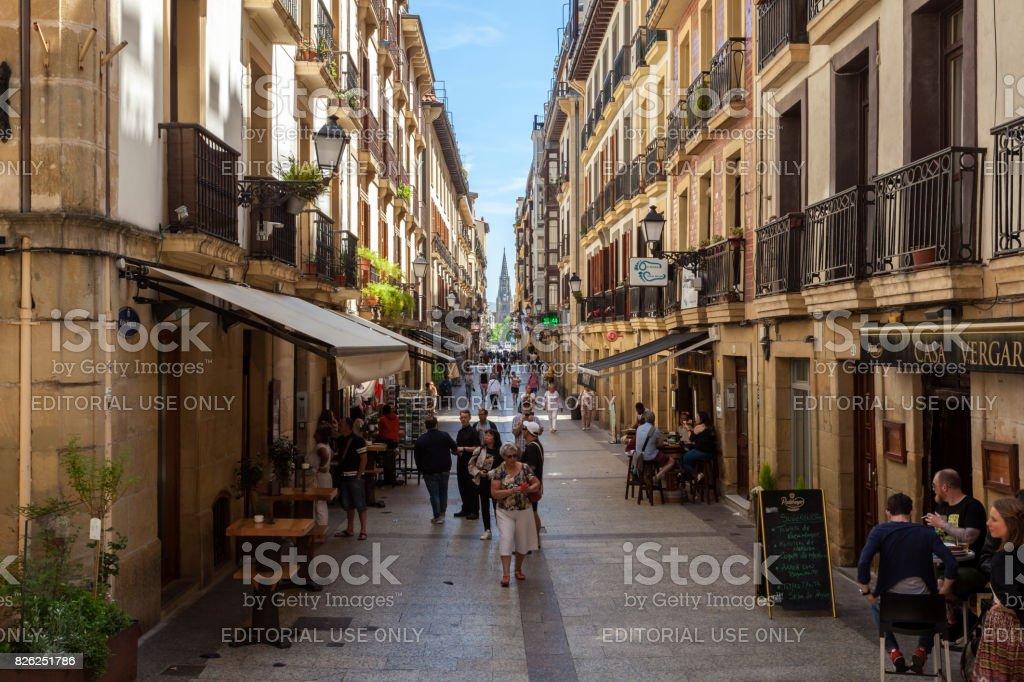 Straße in der Altstadt von San Sebastian, Spanien – Foto