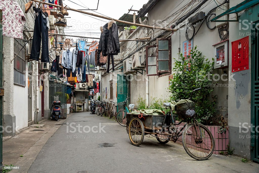 Street in the old town of Shanghai stock photo