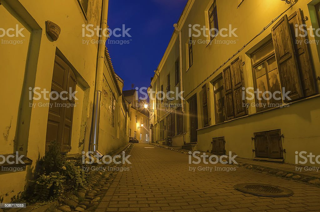 Street in the Old Town of Vilnius, Lithuania royalty-free stock photo