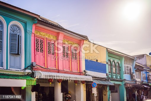 istock Street in the Portugese style Romani in Phuket Town. Also called Chinatown or the old town 1157041453