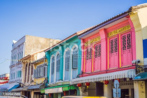 istock Street in the Portugese style Romani in Phuket Town. Also called Chinatown or the old town 1157041569