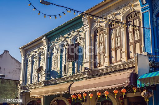 istock Street in the Portugese style Romani in Phuket Town. Also called Chinatown or the old town 1157042208