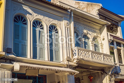 istock Street in the Portugese style Romani in Phuket Town. Also called Chinatown or the old town 1157042246