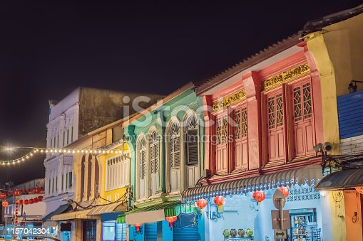 istock Street in the Portugese style Romani in Phuket Town. Also called Chinatown or the old town 1157042304