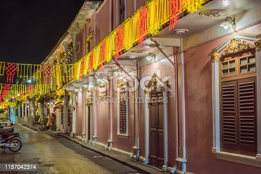istock Street in the Portugese style Romani in Phuket Town. Also called Chinatown or the old town 1157042374