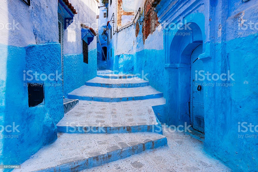Street in the town of Chefchaouen in Morocco stock photo