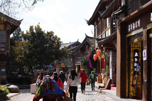 Eine Straße im Dorf Shu-He in Lijiang, Yunnan, China – Foto