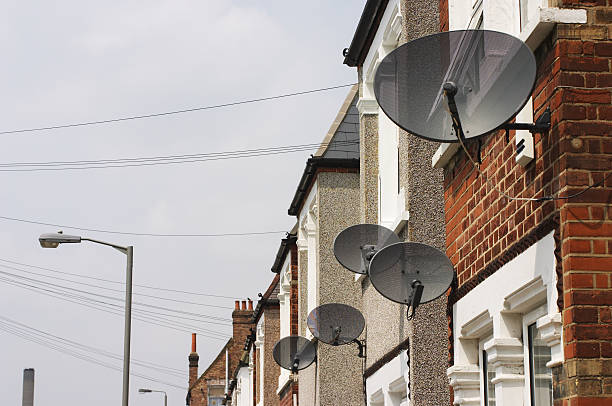 Satellite dishes get mixed reception in London stock photo