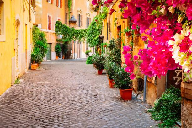 street in Trastevere, Rome, Italy stock photo