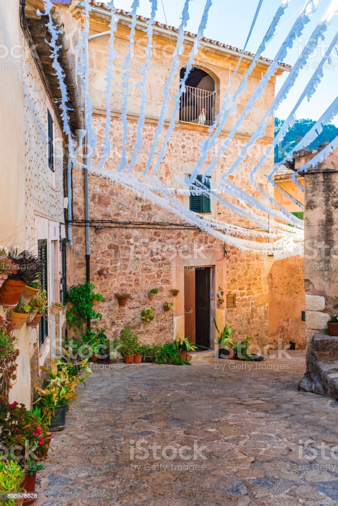Street in Valldemossa, Majorca Spain stock photo