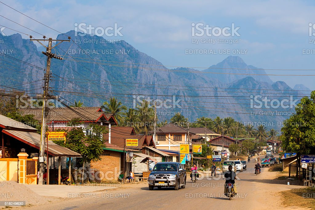 Street in Vang Vieng, Laos stock photo