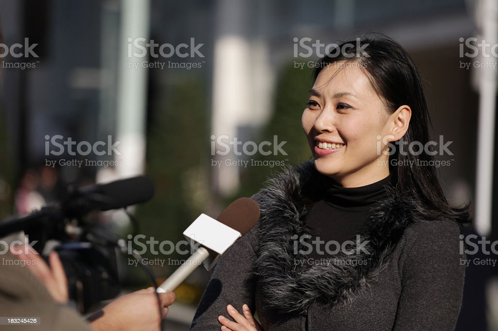 Street Interview in Tokyo royalty-free stock photo