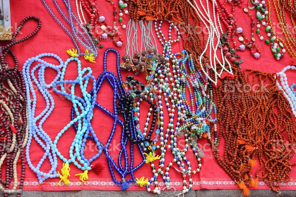 Street Jewelry - Colorful ornaments on sale stock photo