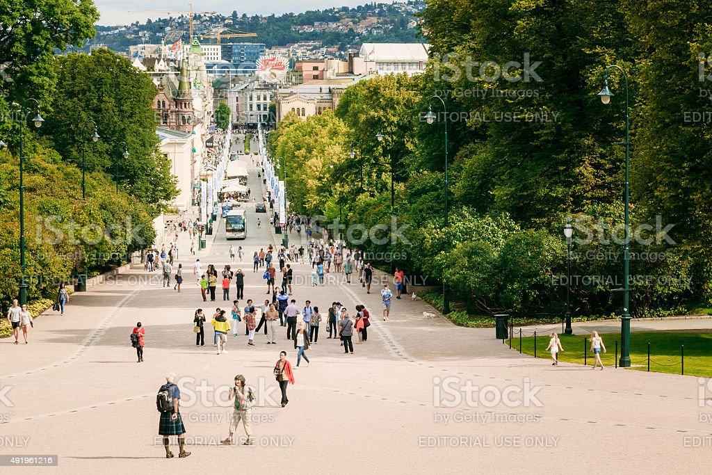 Street Karl Johans Gate in Oslo, Norway stock photo