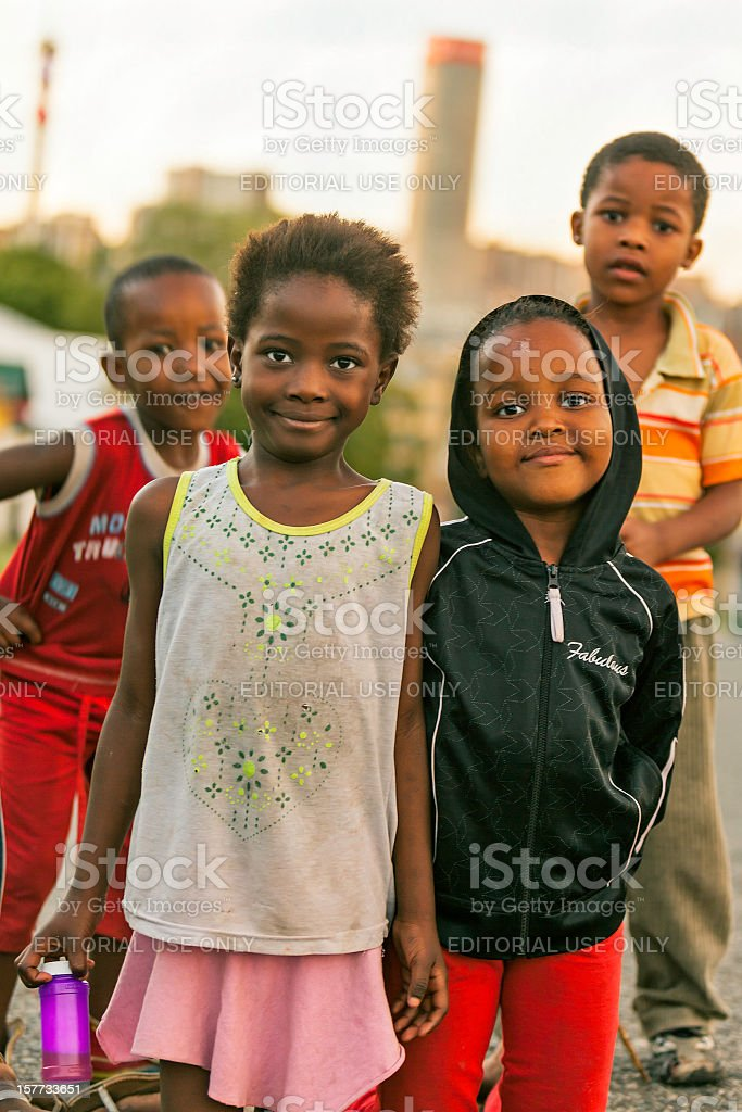 Street Kids in Johannesburg at Sunset stock photo