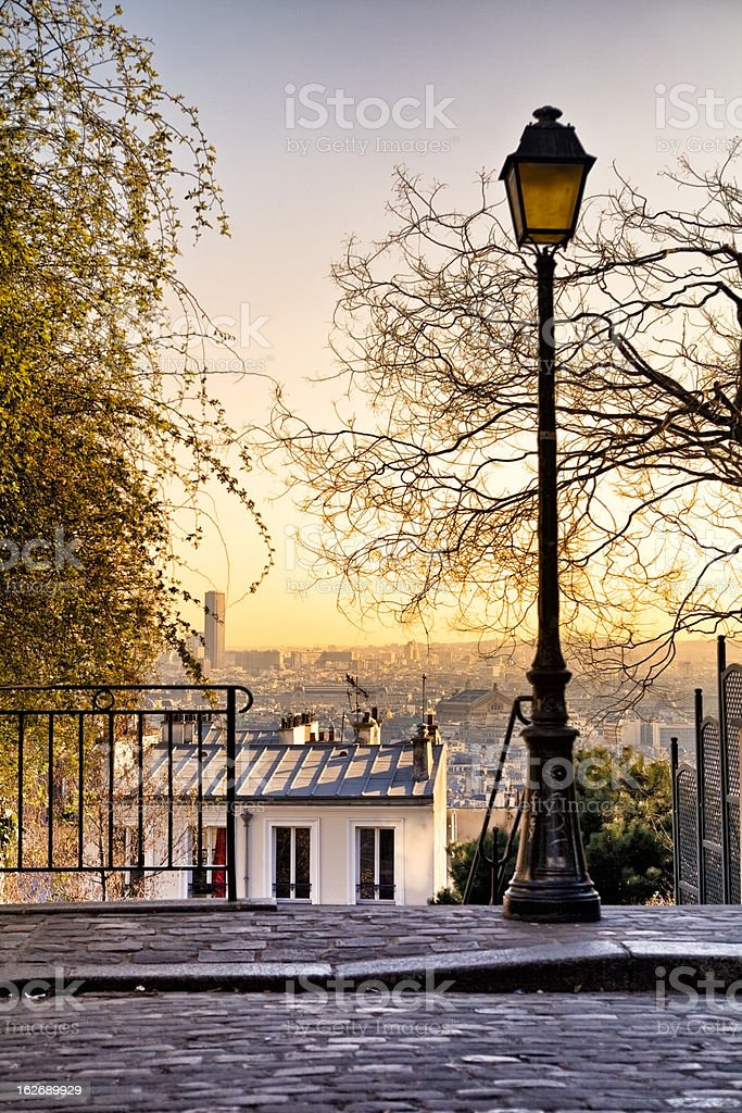 Street lamp and Paris skyline royalty-free stock photo