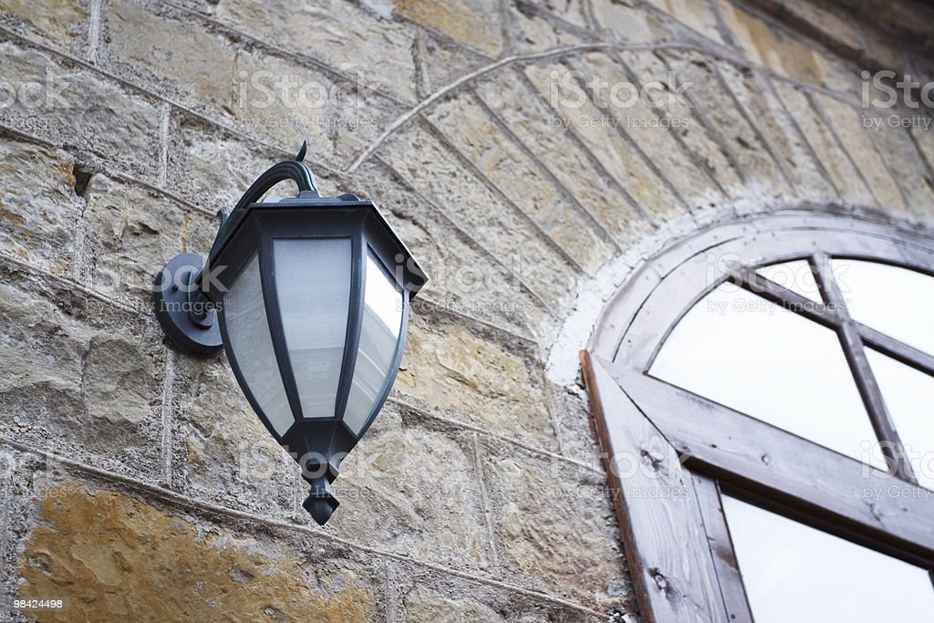 Street lamp and window royalty-free stock photo