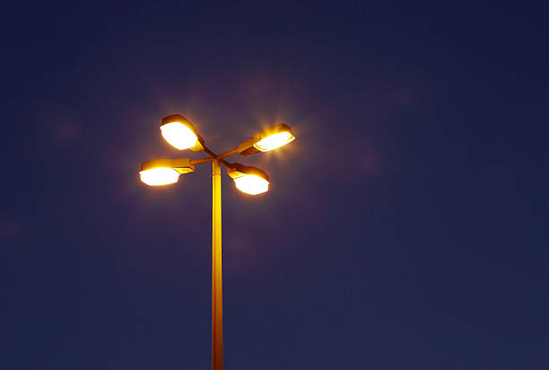 Street lamp at blue hours stock photo
