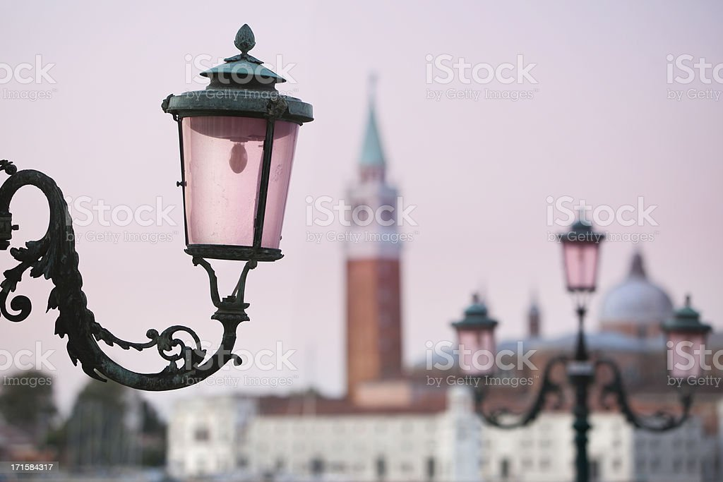 Street lamp at St Marks Square Lido Venice Italy royalty-free stock photo