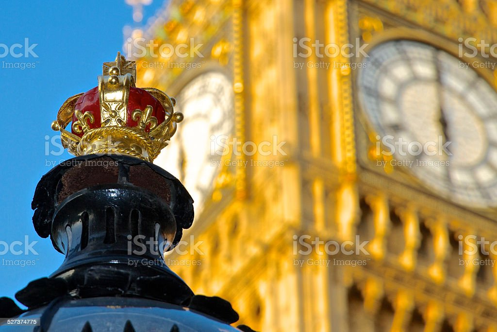 Street Lamp Crown and Big Ben stock photo