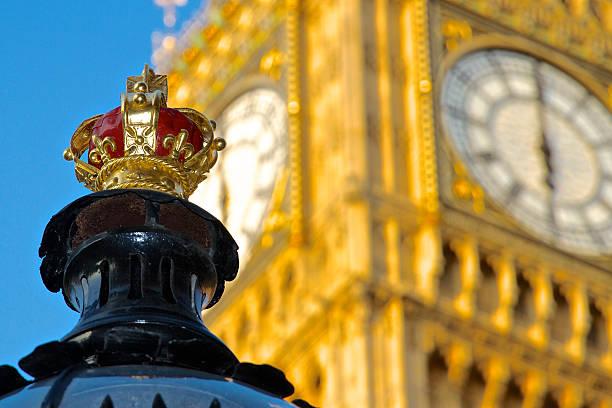Street Lamp Crown and Big Ben stock photo