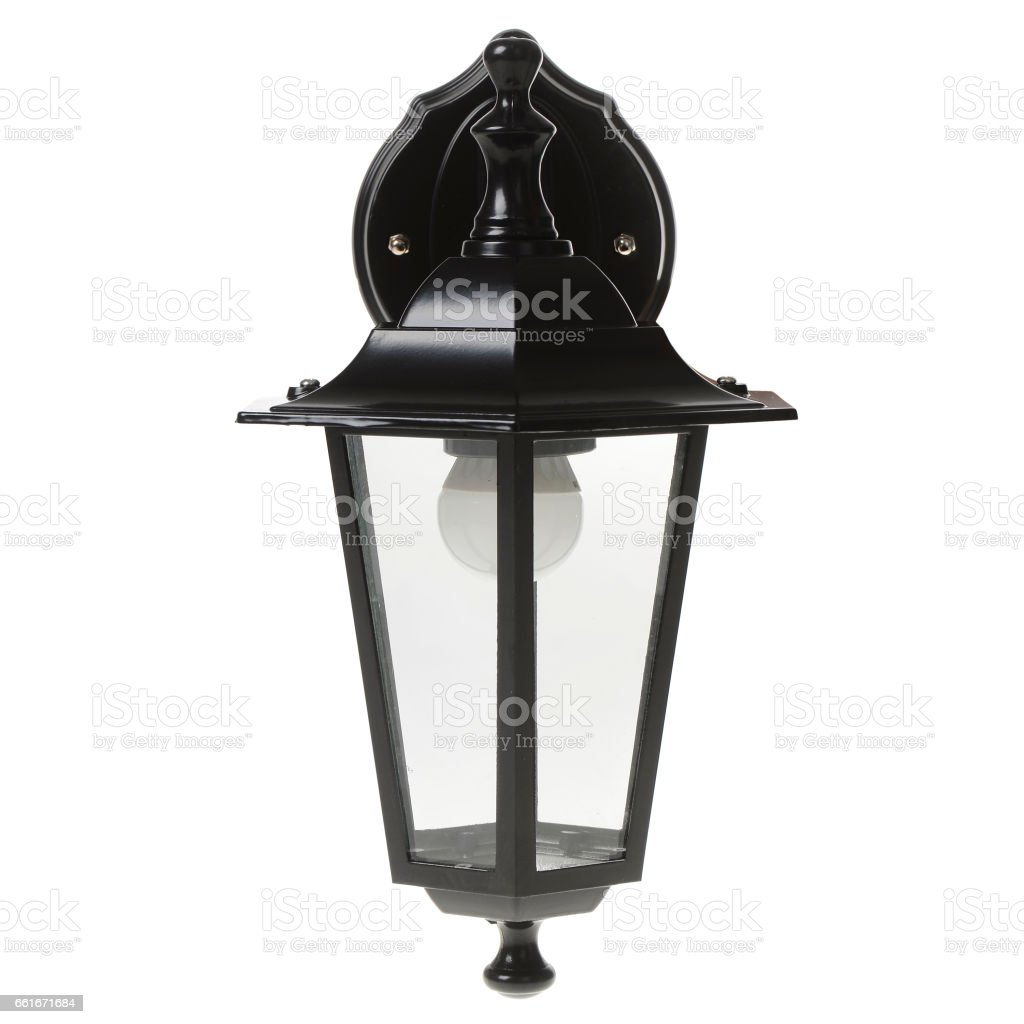 Street lamp isolated on white background stock photo