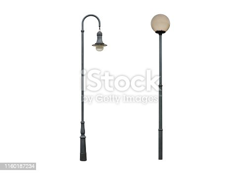 image of street lamp post isolated on white background