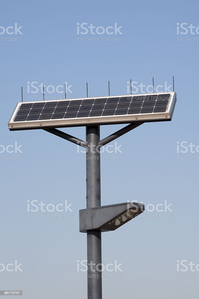 Street lamp powered by solar power royalty-free stock photo