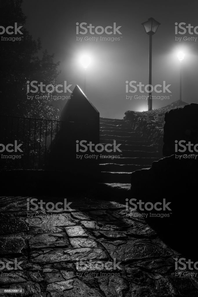 Street lamps in the night stock photo