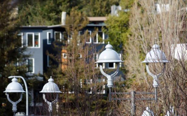 Street lamps on 3rd Street in Kirkland, Washington stock photo