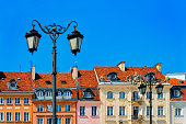 Street lamps on Castle Square in Warsaw in Poland